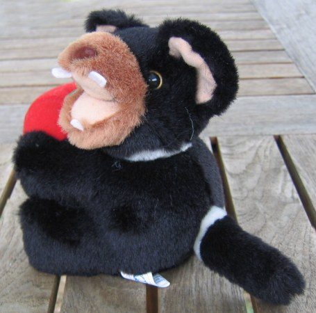 Soft toy Tasmanian devil with apple