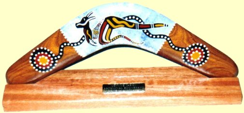 corporate gift - Australian boomerang on a stand with engraved plaque