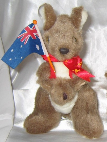 kangaroo soft toy with Australian flag and Joey