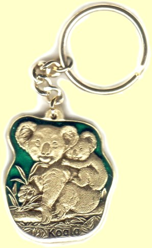 Cast metal chain key ring - koala bear with baby koala