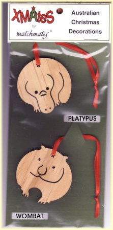 Platypus and Wombat wooden Christmas decoration set