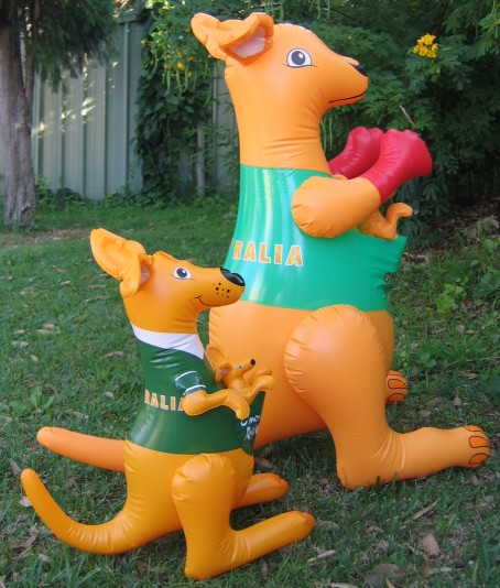 Big blow up inflatable kangaroo toy in yellow & green Aussie colors