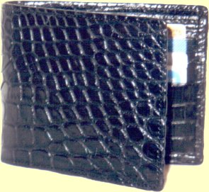 top of the range crocodile leather wallet for men in black matt