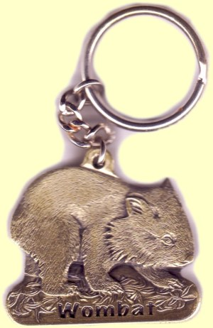 Cast metal chain key ring featuring wombat