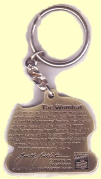 Wombat cast metal chain key ring back side view